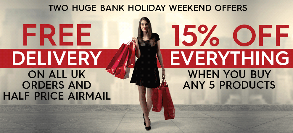 Free UK delivery and half-price airmail and buy 5 save 15% this weekend