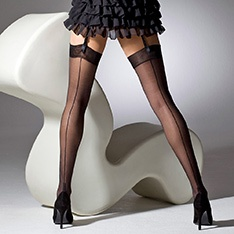 1055 Cuban Heel seamed stockings