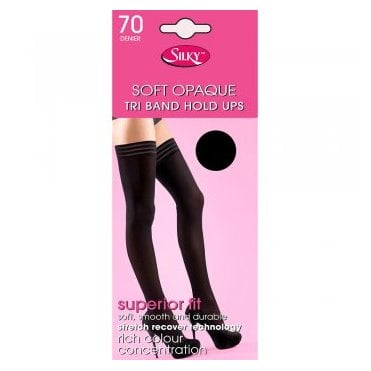 Silky 70 denier soft opaque tri-band hold-ups