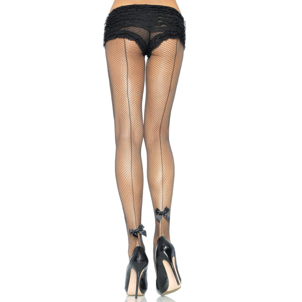 Leg Avenue 9033 backseam fishnet tights with satin bow accent