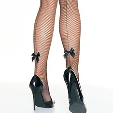 9033 backseam fishnet tights with satin bow accent