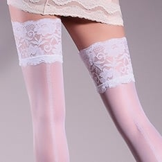 Allure model 14 patterned backseam lace top hold-ups