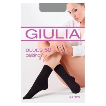 Giulia Blues 50 calzino 3D microfibre opaque ankle highs