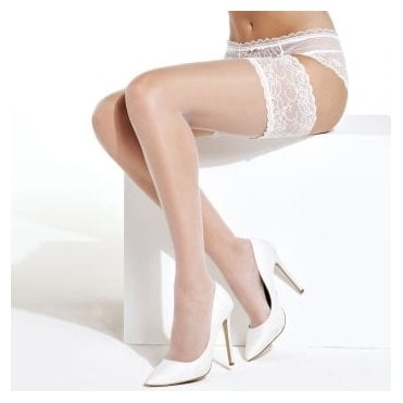 Charnos Bridal hold-ups with deep lace top band