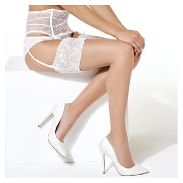 Charnos Bridal stockings with deep lace top band