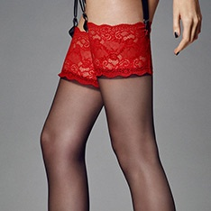 Calze Esmeralda contrast lace top stockings