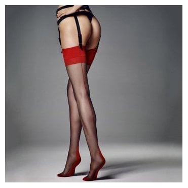 Veneziana Calze Leticia 6 denier contrast seam stockings