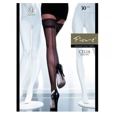 Fiore Celia seamed hold-ups with lace top