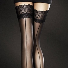 Celia seamed hold-ups with lace top