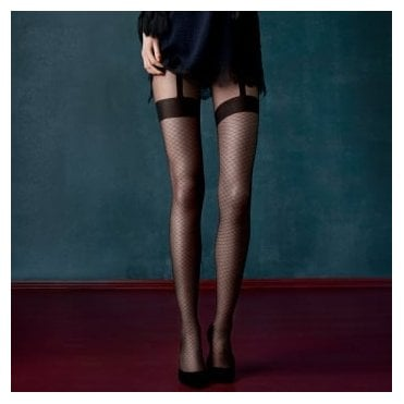 Fiore Charleston chain-link pattern suspender tights