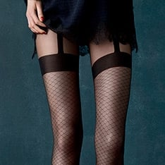 Charleston chain-link pattern suspender tights