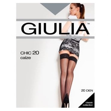 Giulia Chic 20 Calze lace top seamed hold-ups