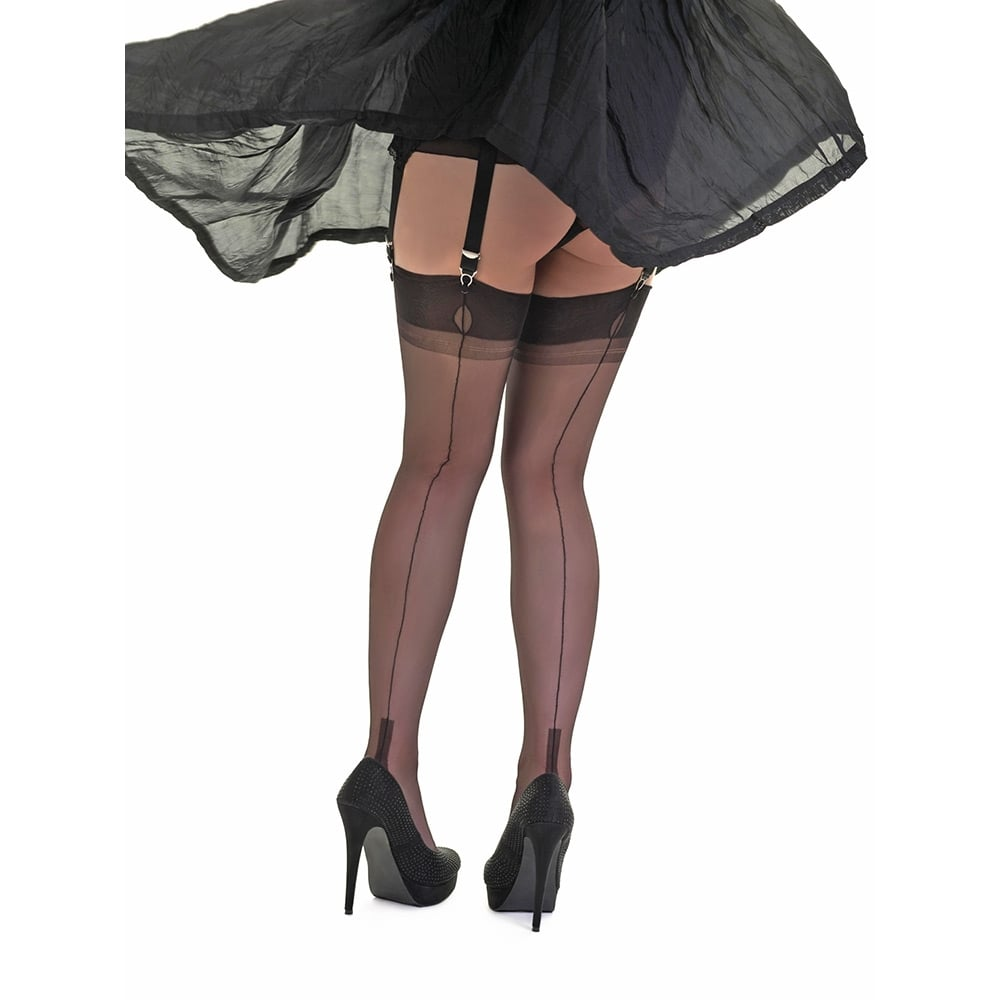 Gio cuban heel fully fashioned stockings - XXXL - size 12.5