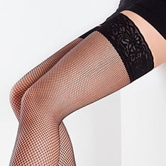 Emotion Rete lace top fishnet hold-ups