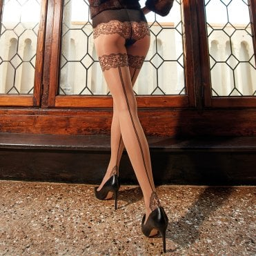 Trasparenze Ermes seamed faux hold-up tights