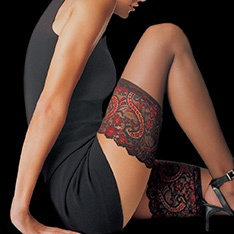 Essentiel sheer hold-ups with two colour lace top