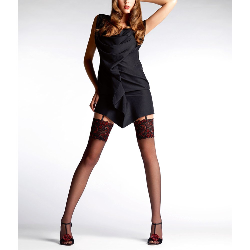 Le Bourget Essentiel stockings with two colour lace top