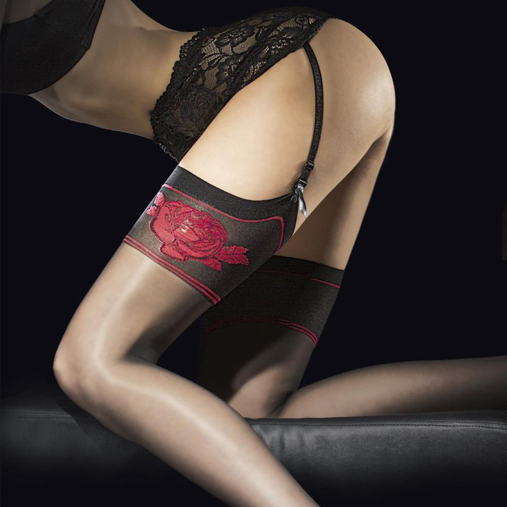 Fiore Etheris red rose stockings