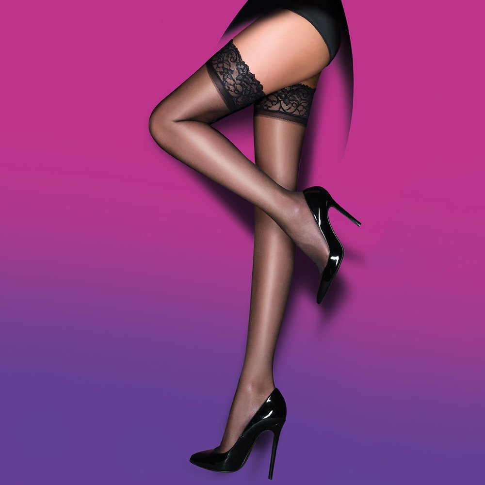 Pretty Polly Everyday Plus 10 denier gloss lace top hold-ups