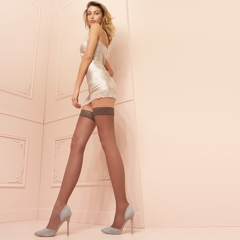 Trasparenze Fanny 15 denier double-covered lace top hold-ups