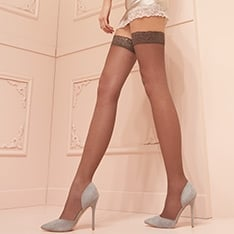 Fanny 15 denier double-covered lace top hold-ups