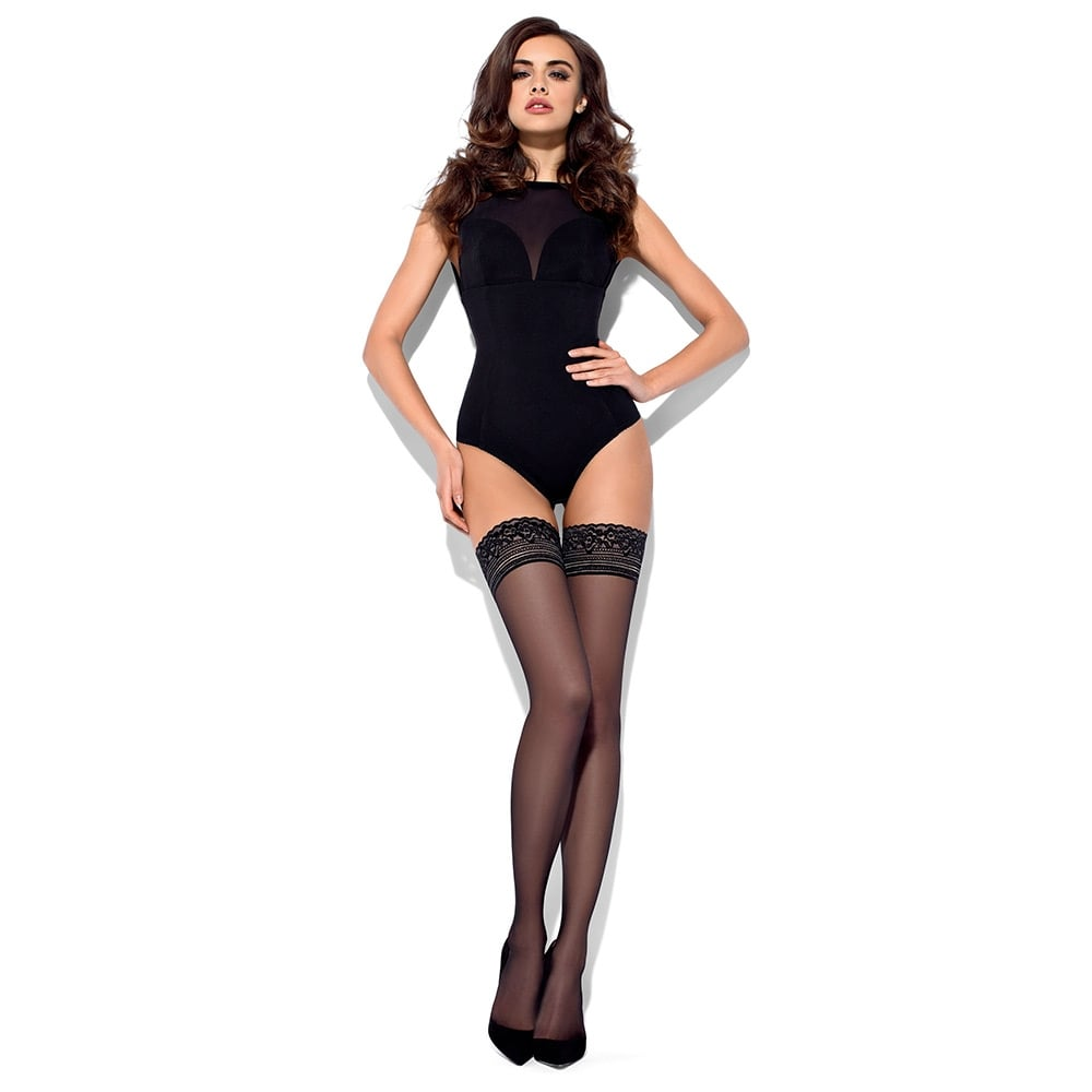 Mona Felice lace top sheer hold-ups