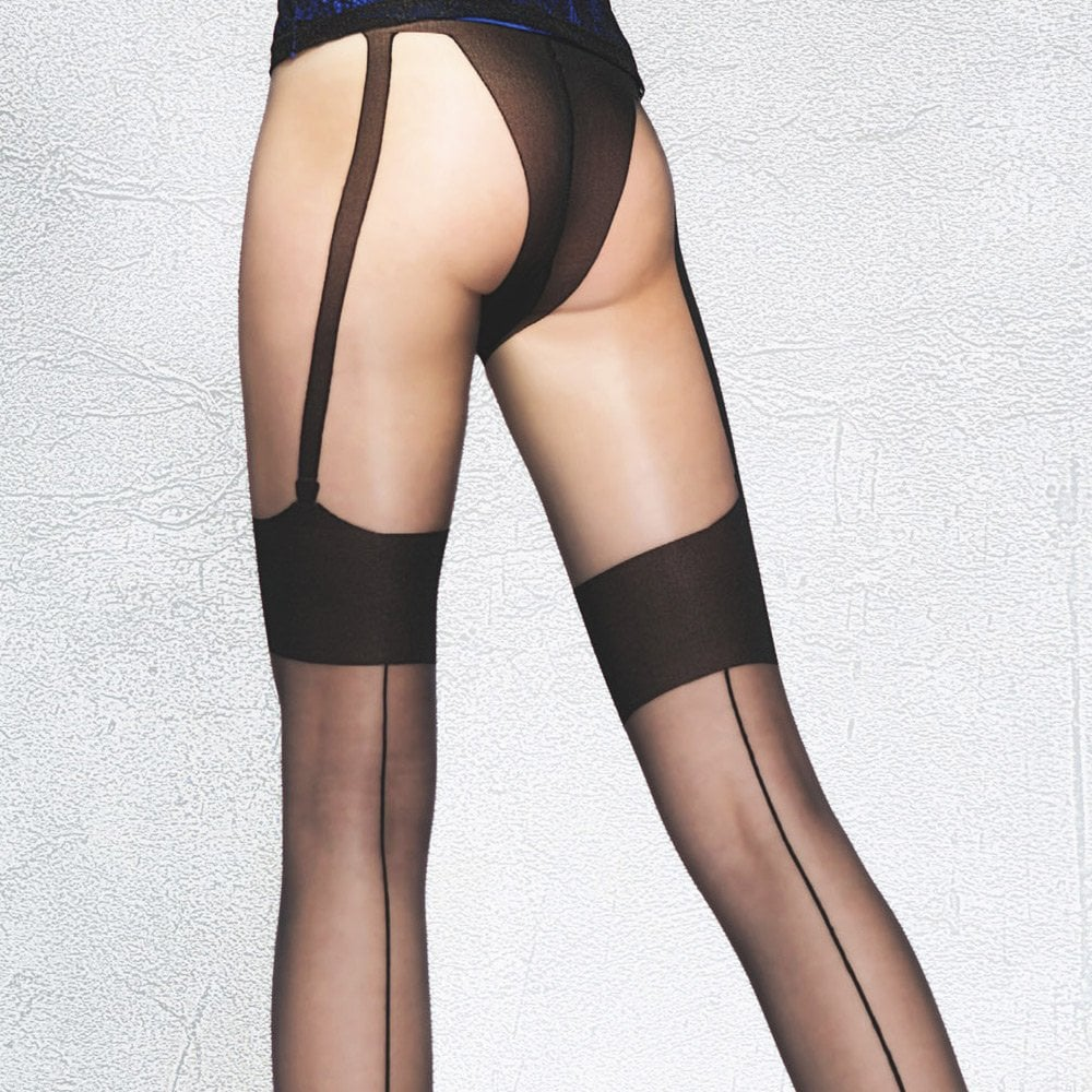 a6f87d344 Fiore Beverly faux seamed suspender tights