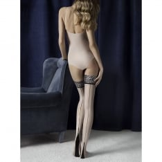 Fiore Lust seamed animal print hold-ups