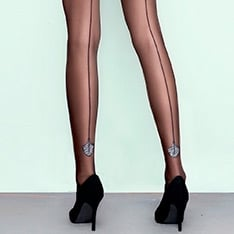 Flare metallic pattern backseam tights