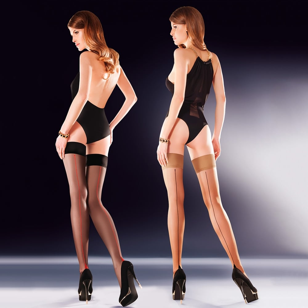 81a183dbba9ce Gabriella Capri contrast seamed hold-ups at Tights And More - the ...