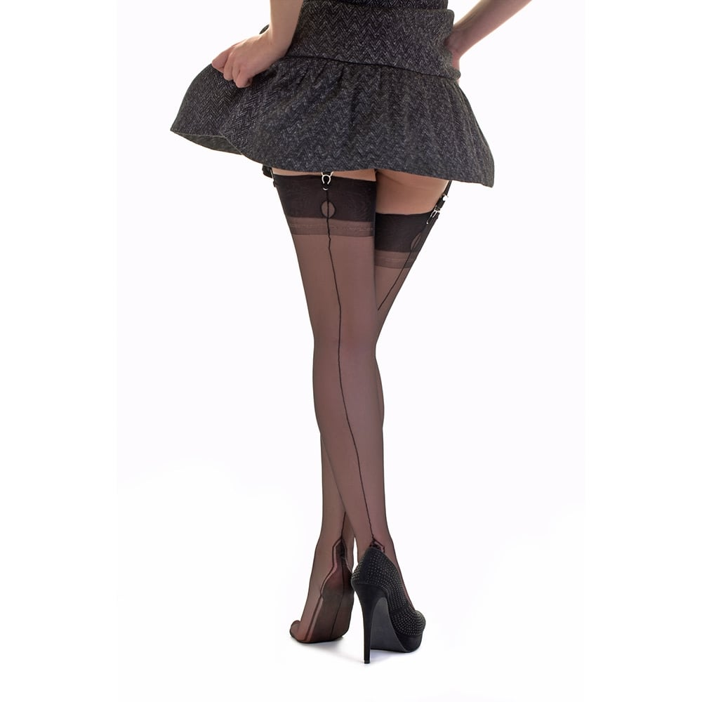 5977c968b CONTRAST SEAM Manhattan heel fully fashioned stockings - SECONDS