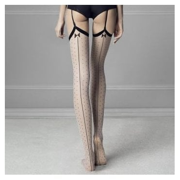 Fiore Gossip seamed spot vintage style stockings
