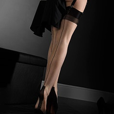 Havana heel fully fashioned stockings - FULL CONTRAST - SECONDS