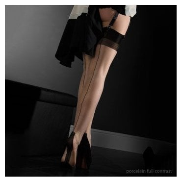 Eleganti Havana heel fully fashioned stockings - FULL CONTRAST - SECONDS