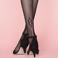 Hush-Hush glitter heel motif tights