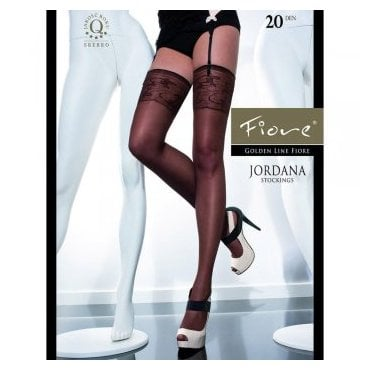 Fiore Jordana matt stockings with pattern lace top