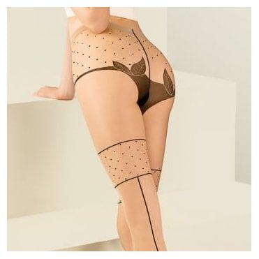 Gabriella Lilly vine seam faux hold-up tights