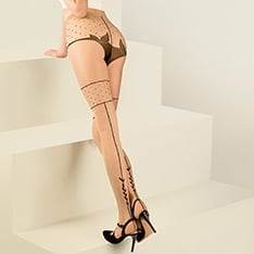 Lilly vine seam faux hold-up tights