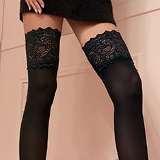 Lucrezia 70 denier opaque deep lace hold-ups