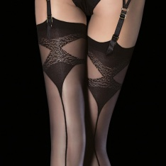 Fiore Luna pattern top backseam stockings