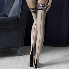 Lust seamed animal print hold-ups