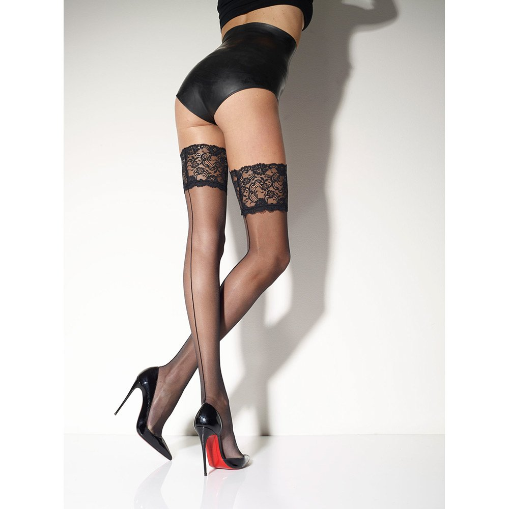 Girardi Marlene Rigo seamed lace top hold-ups