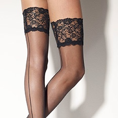 Marlene Rigo seamed lace top hold-ups