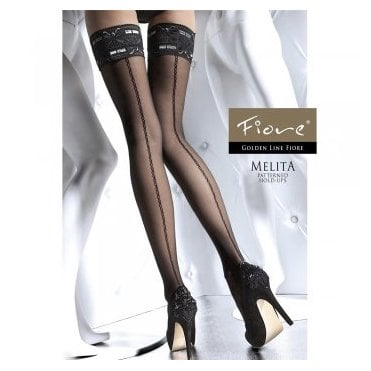 Fiore Melita seamed contrast lace hold-ups