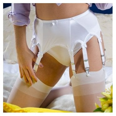 Stockings HQ NEW Classic 10-strap plain front suspender belt