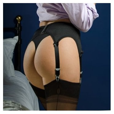 Stockings HQ NEW Classic 6-strap lace front suspender belt  - PLUS SIZE