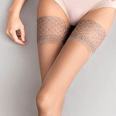 Nude lace top hold-ups