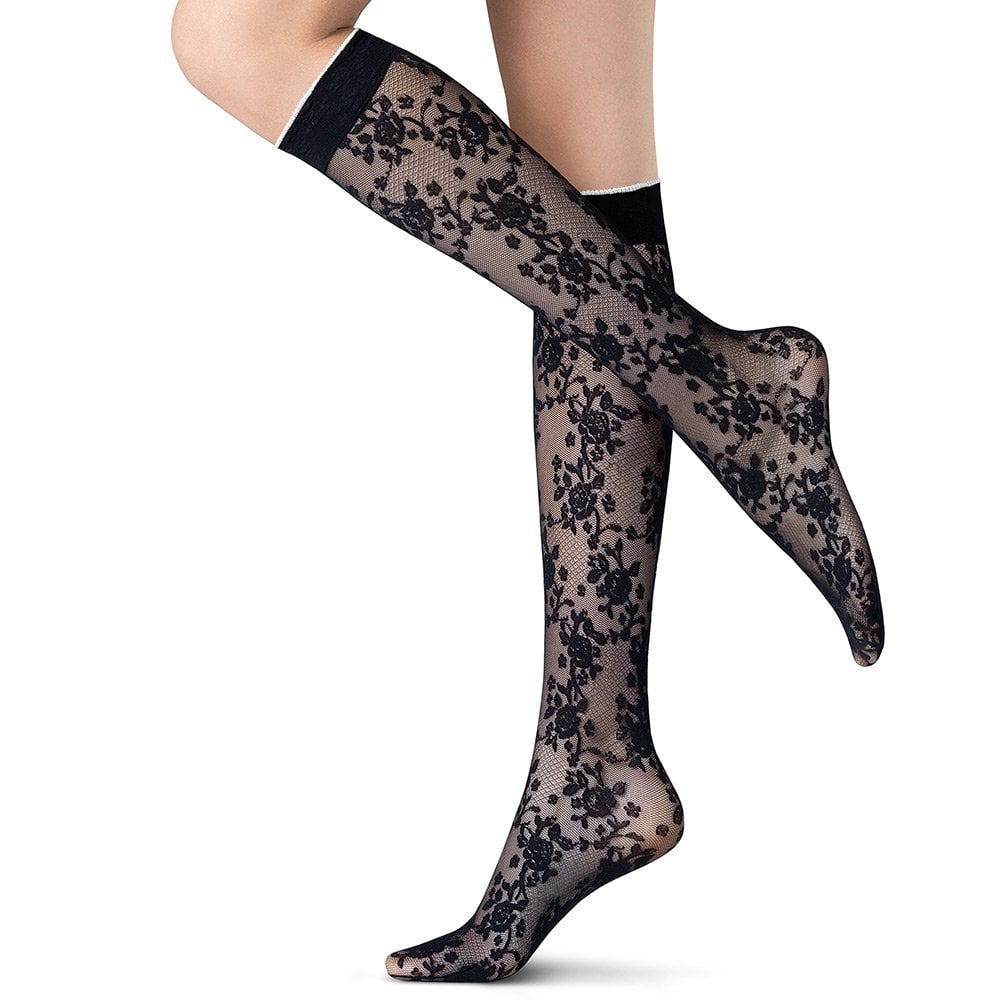 043afd81e Oroblu Nicety floral patterned knee highs
