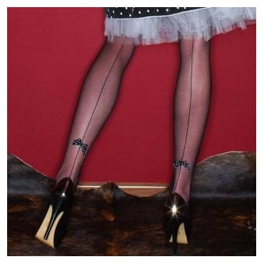 Nylonica Papillion backseam bow microtulle hold-ups - LIMITED EDITION