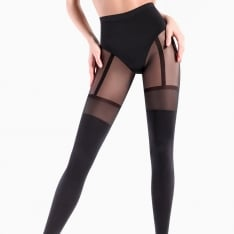 Giulia Pari model 21 opaque faux suspender tights
